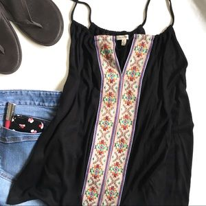 En Creme Camisole Black Embroidered Small